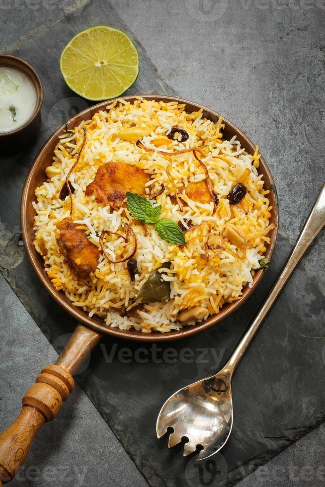 Fish Biryani with basmati rice Indian food photo