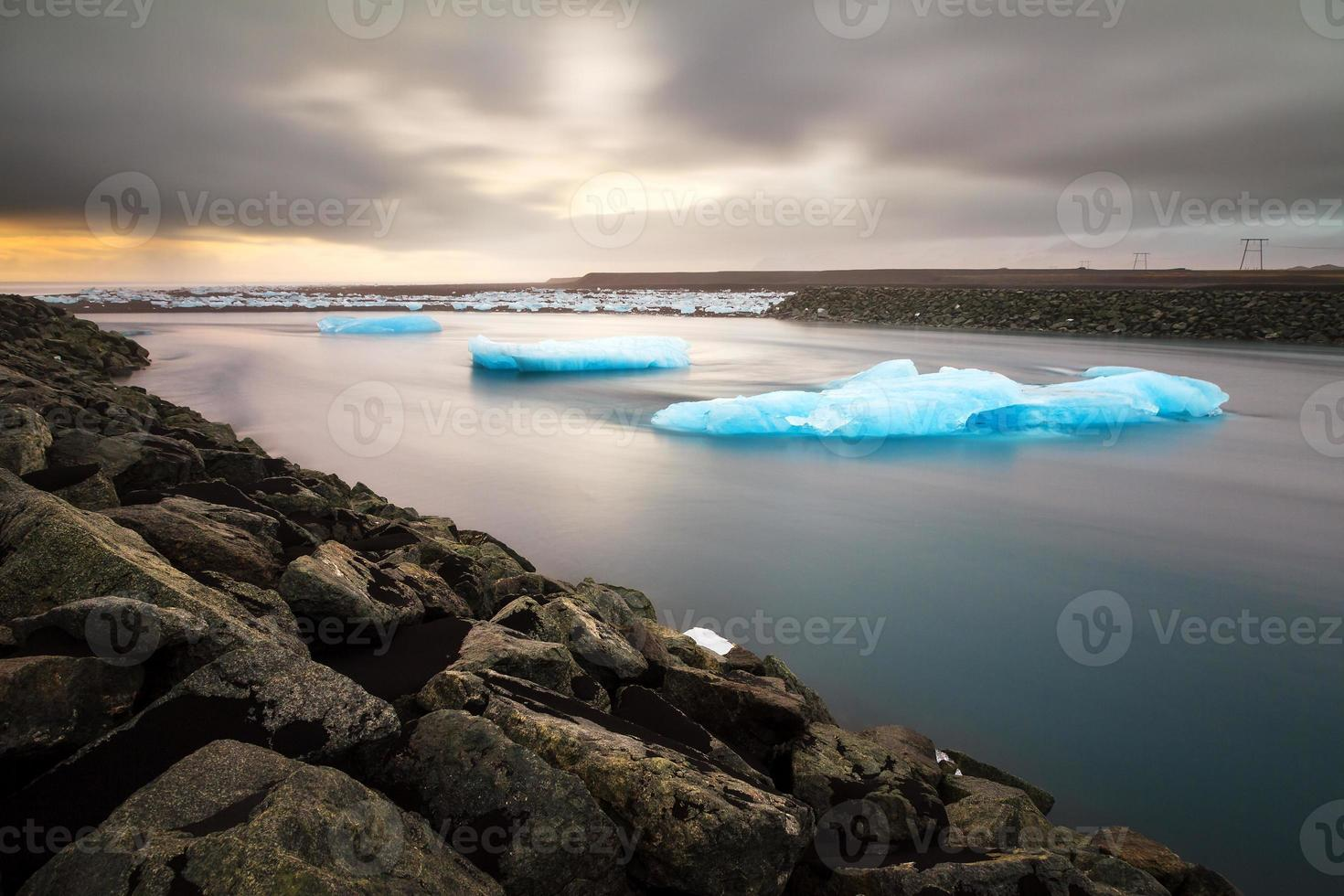 Flowing river ice photo