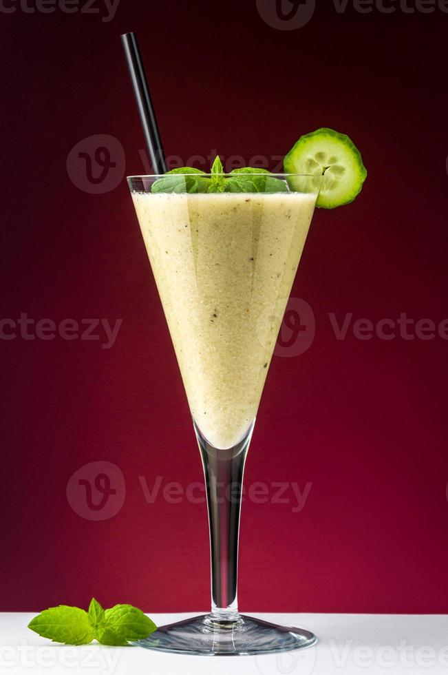 Healthy drink with cucumber photo