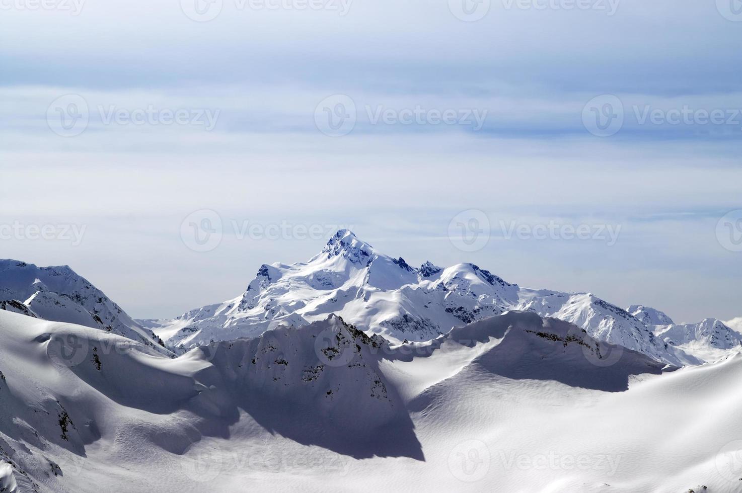 Snowy winter mountains. Caucasus Mountains photo