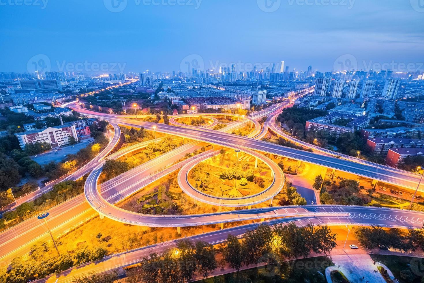 interchange road in night falls photo