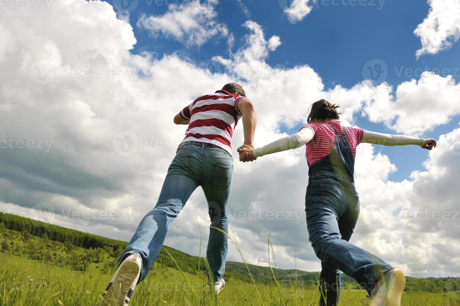 romantic young couple in love together outdoor photo
