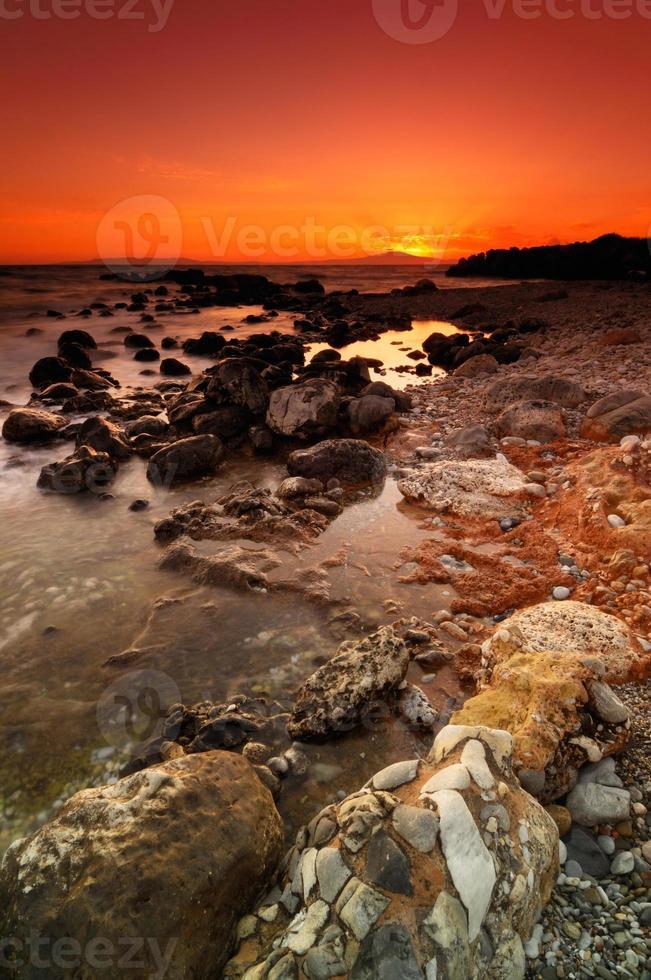 Rocky seascape sunset photo