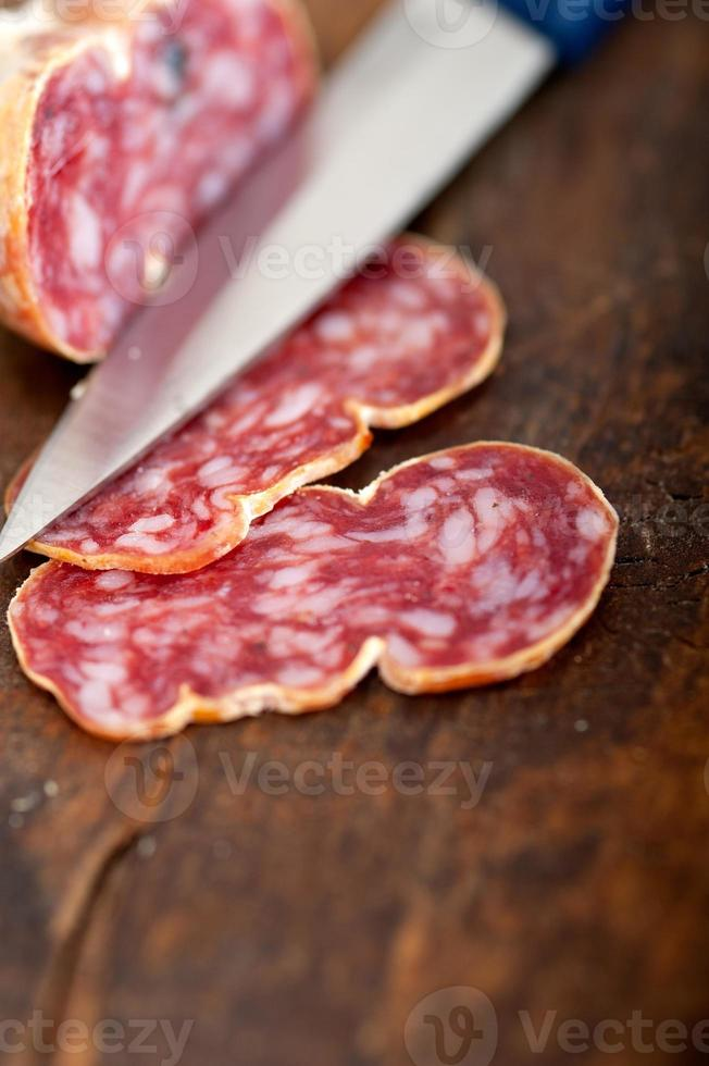 italian salame pressato pressed slicing photo