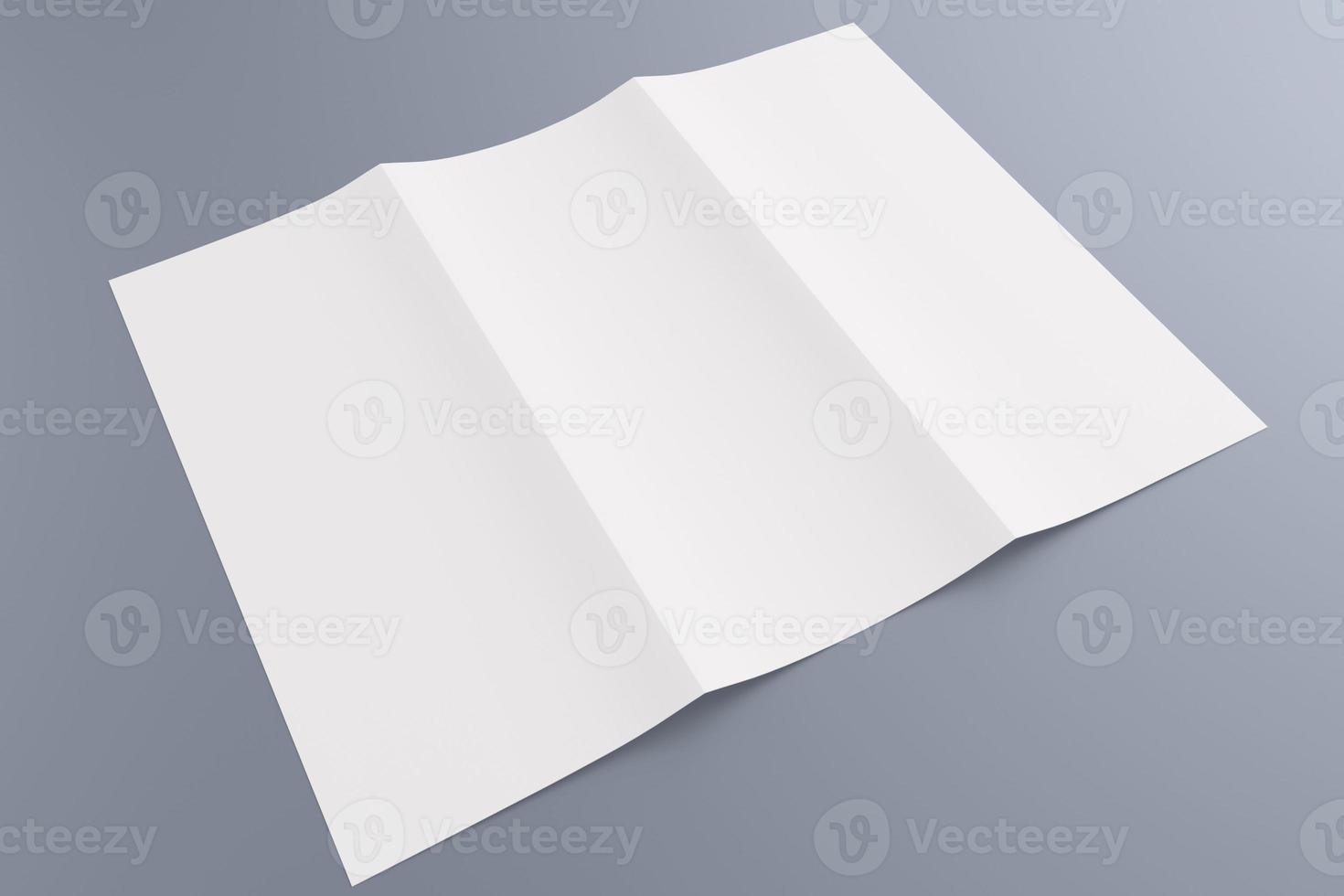 Blank tri fold brochure isolated on grey photo