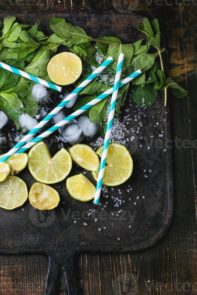 Ingredients for mojito photo
