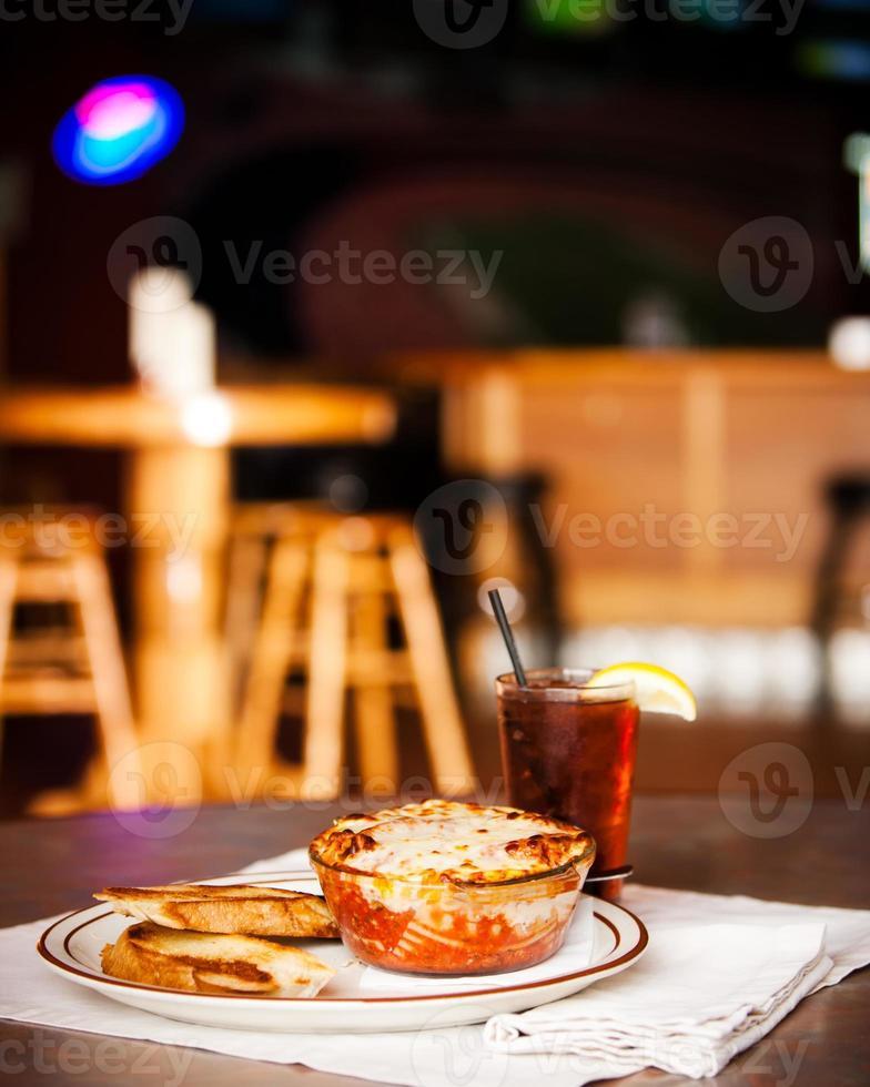 Food and Drink: Lasagna Garlic Bread in Restaurant Bar photo