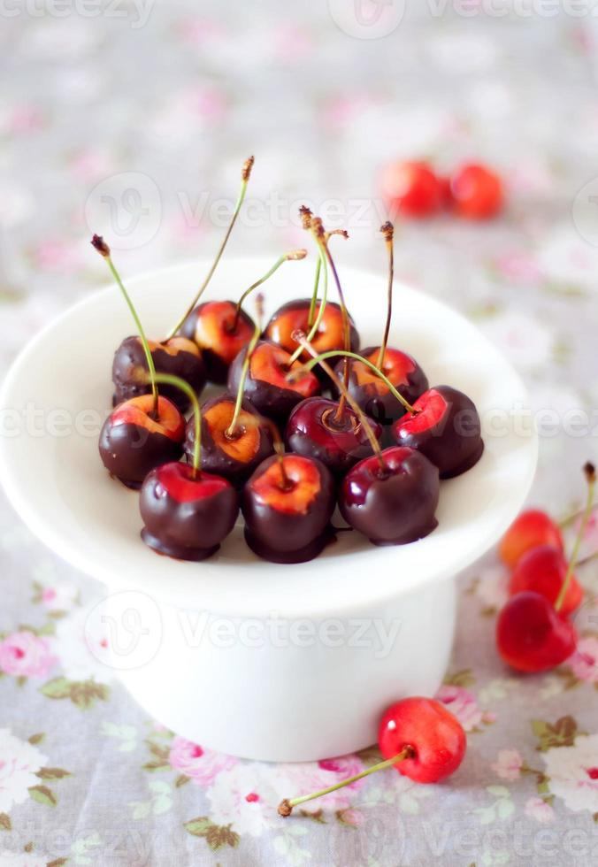 Chocolate dipped cherries photo