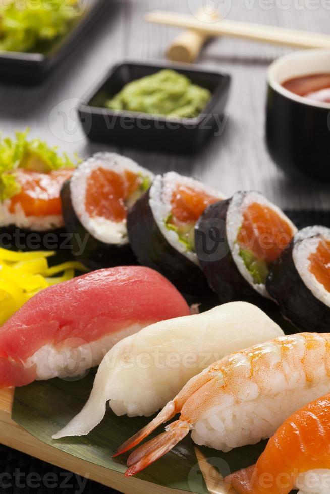 The composition of nigiri sushi photo