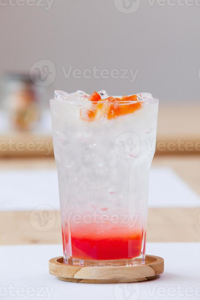 Fruit cocktail - Stawberry syrup and soda photo