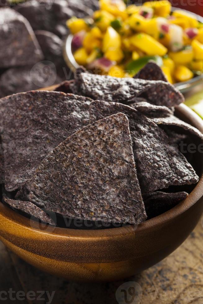chips de callos azules orgánicos caseros foto