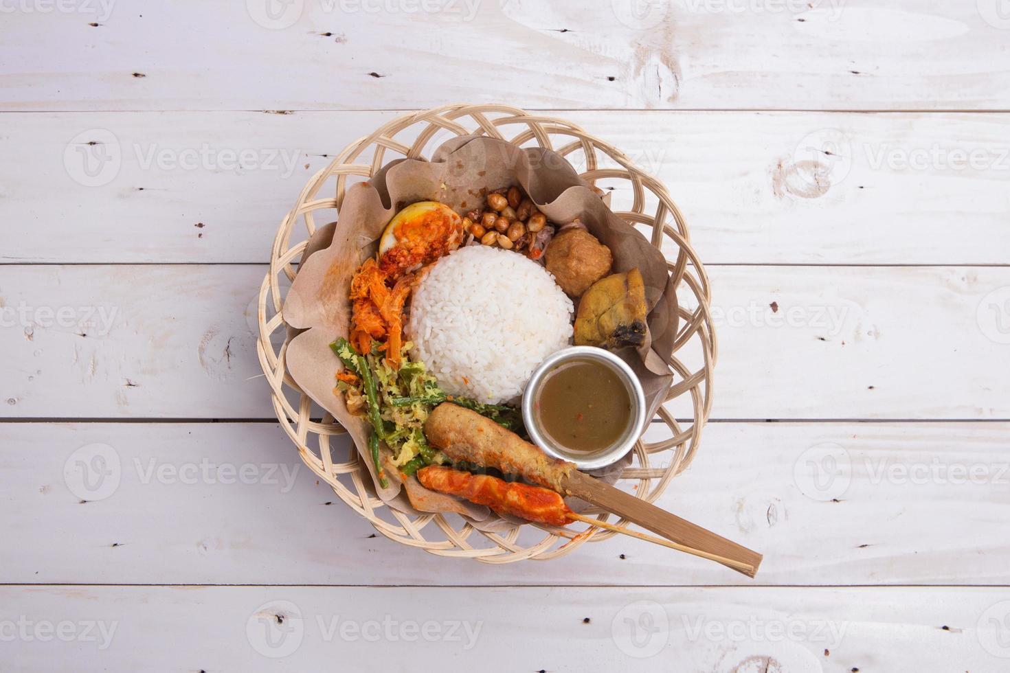 Nasi lemak / Indonesian Balinese rice photo