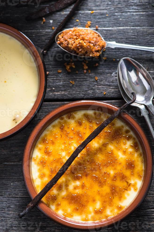 ingrediente para la tradicional crema brulee foto