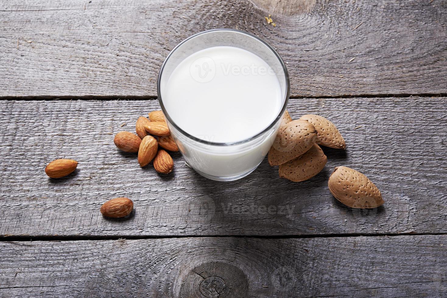 glass of almond milk photo