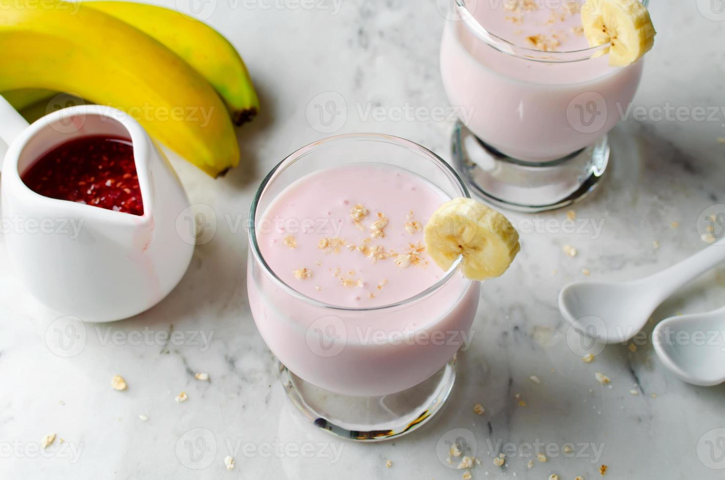 Smoothie on a marble background photo