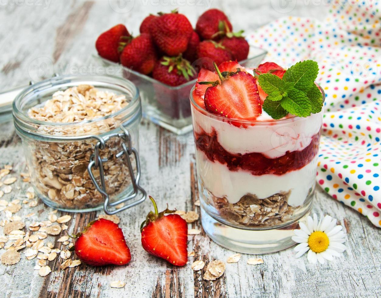 strawberry yogurt with muesli photo