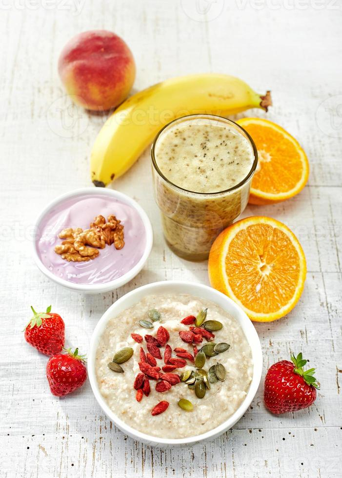 Healthy breakfast ingredients, top view photo