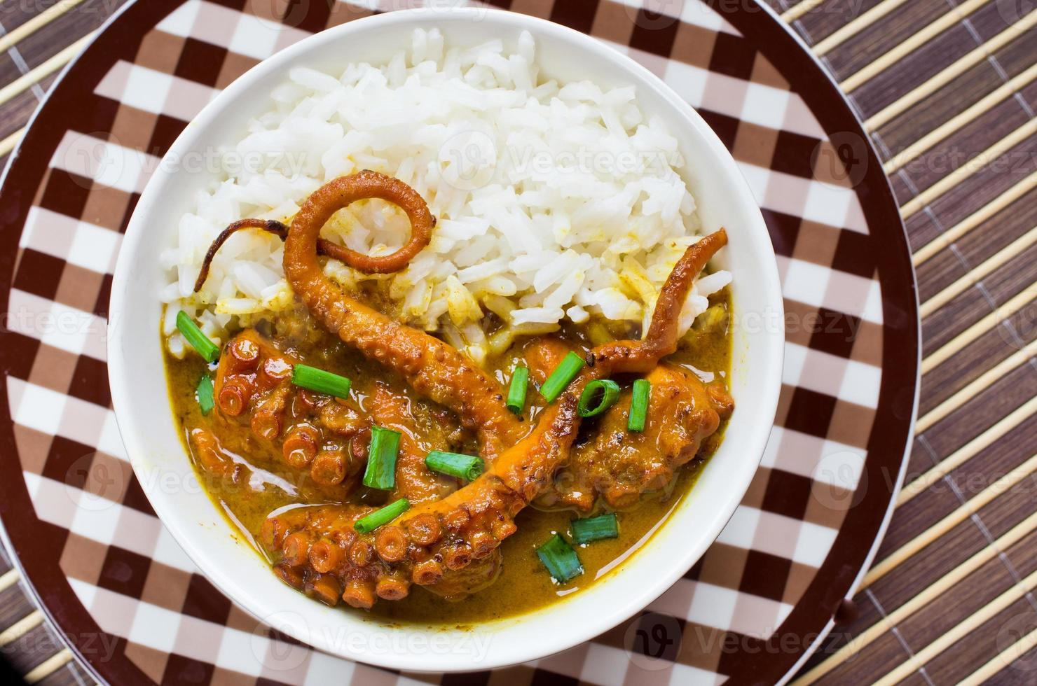 Octopus curry with rice and chives photo