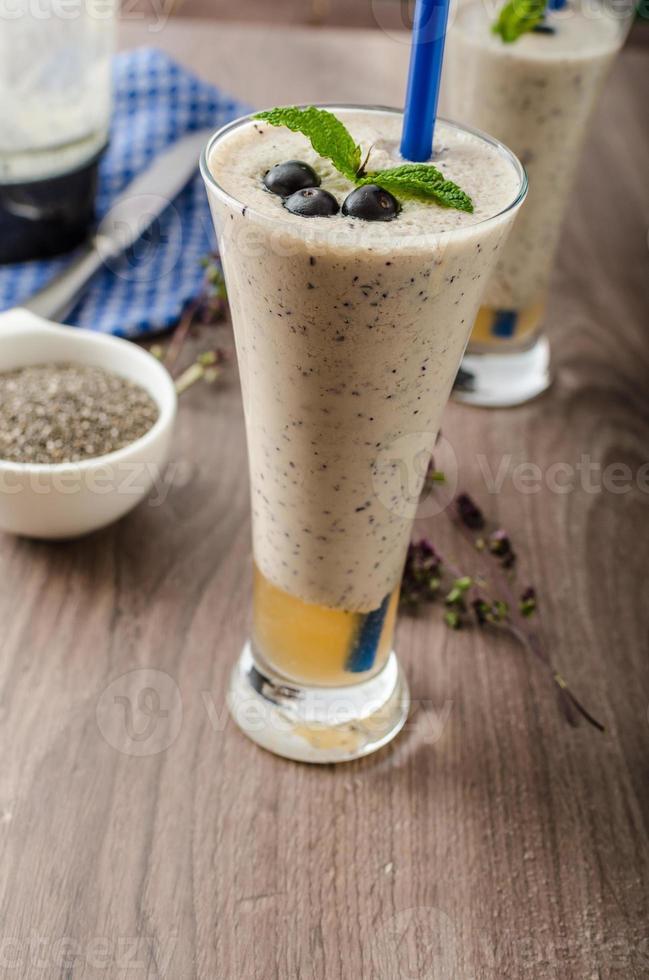 Blueberries milk shake photo