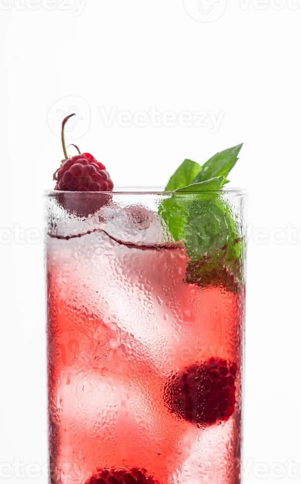 Red cocktail with raspberry photo
