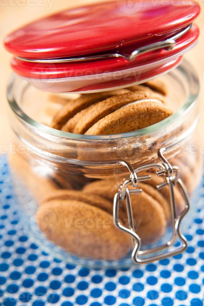 galletas de crema de jengibre en frasco foto