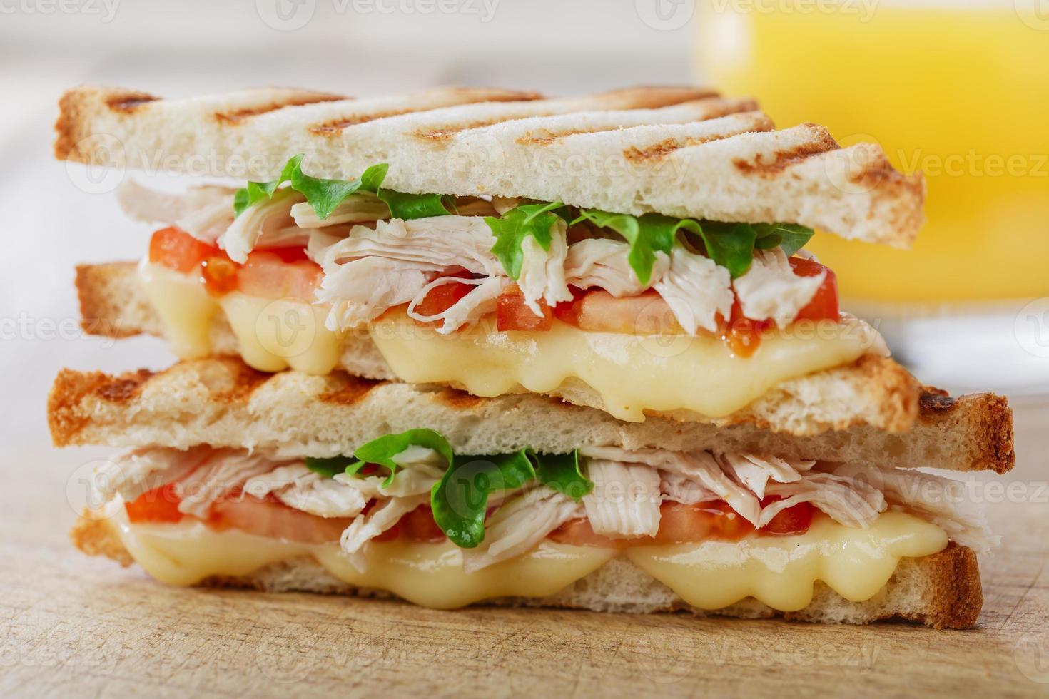 toast sandwich grill with chicken and cheese photo
