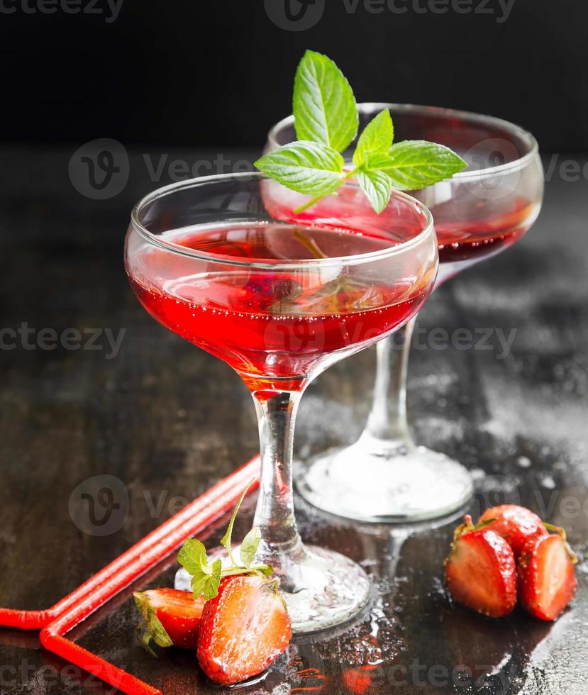Red Cocktails with Mint and Strawberries photo