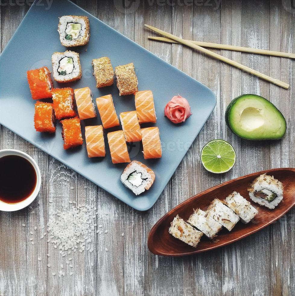 Differents types of sushi rolls photo