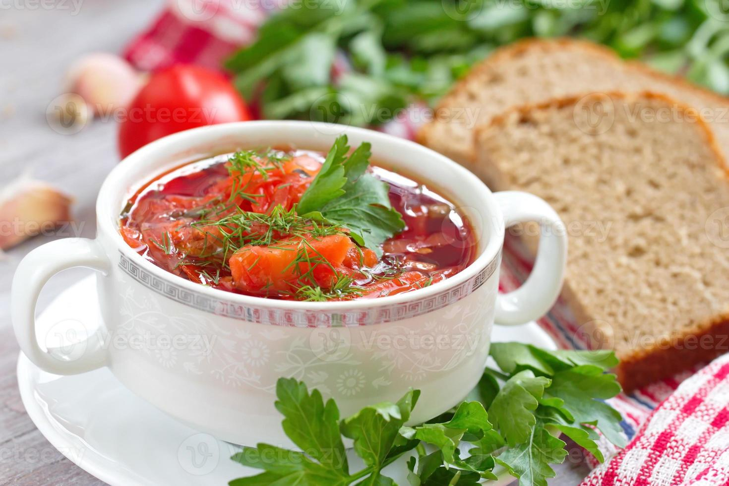 Traditional Russian Ukrainian vegetable borscht soup photo