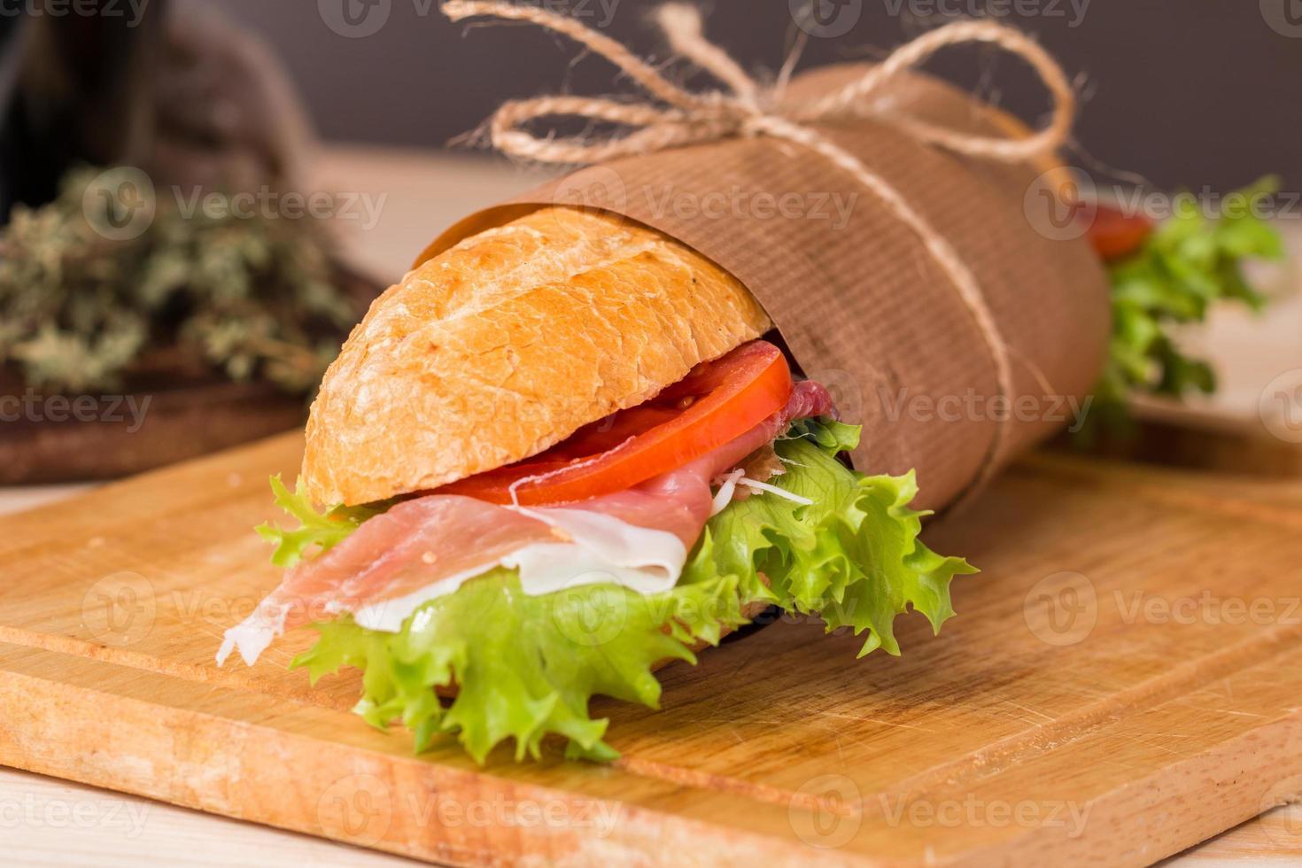 sandwich from fresh baguette photo