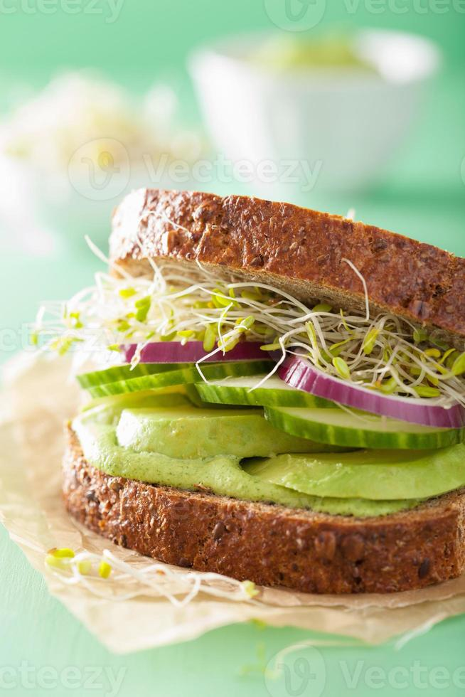 healthy rye sandwich with avocado cucumber alfalfa sprouts photo