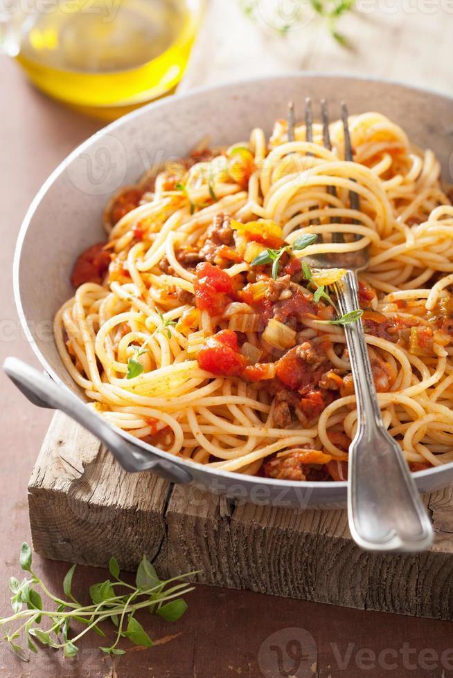 cooking italian pasta spaghetti bolognese photo