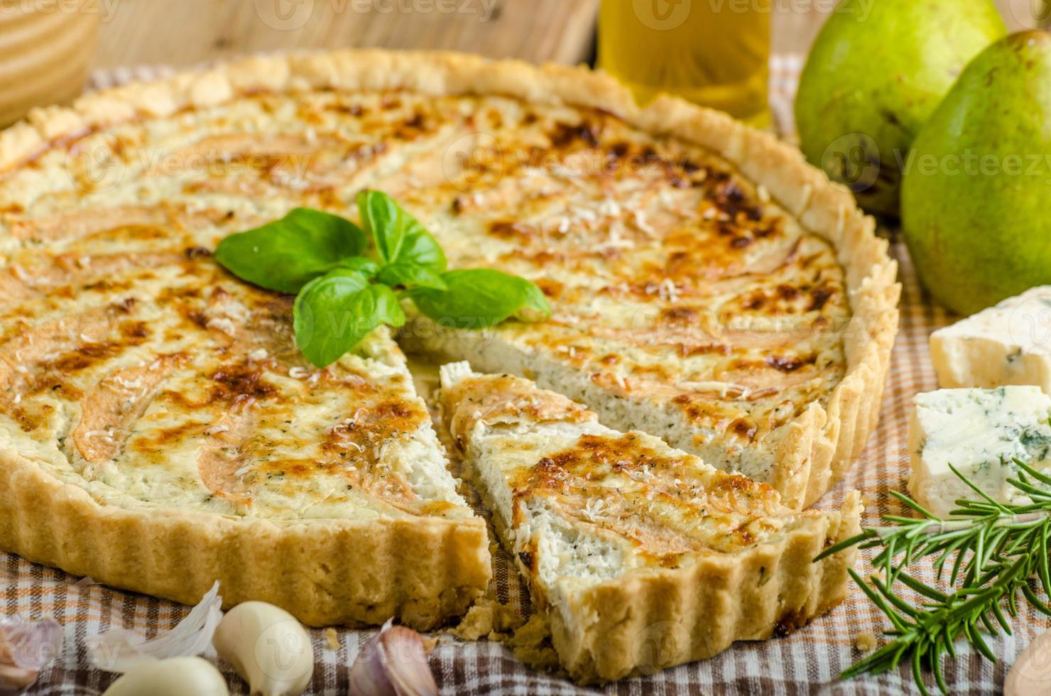 French quiche stuffed cheese and pears photo