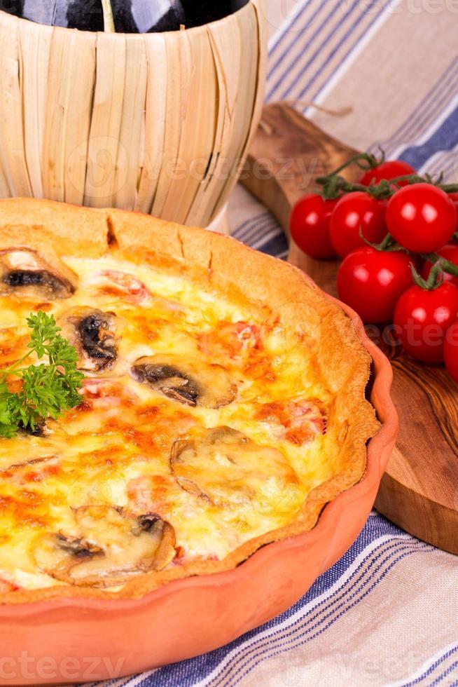 Savoury quiche with Chianti photo