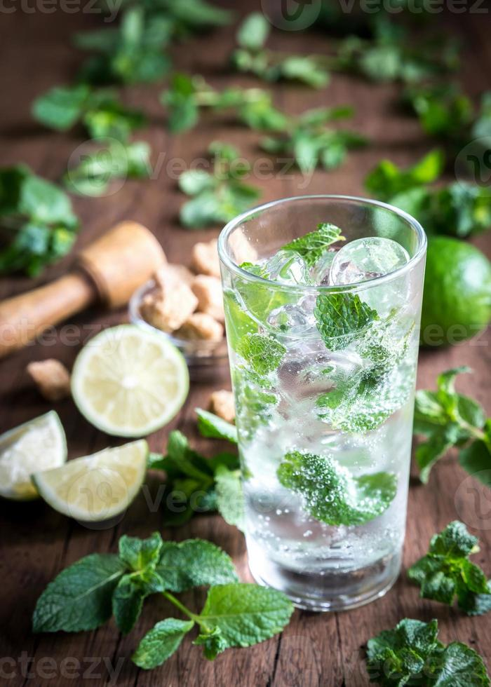 Glass of mojito with ingredients photo