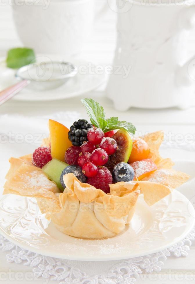 Fruit salad in phyllo dough. photo