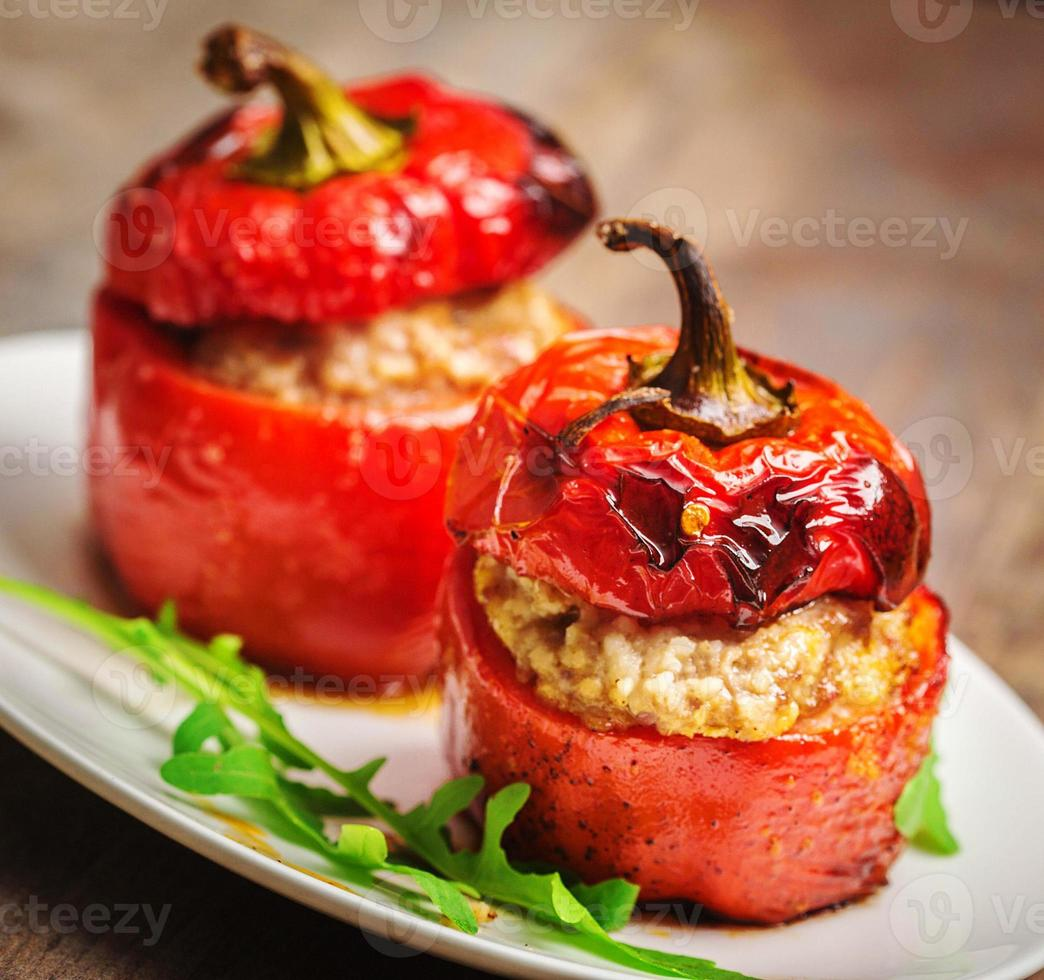 Baked pepper with meat photo
