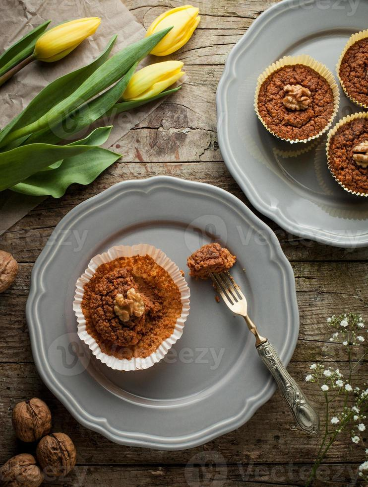 carrot muffins with walnut photo