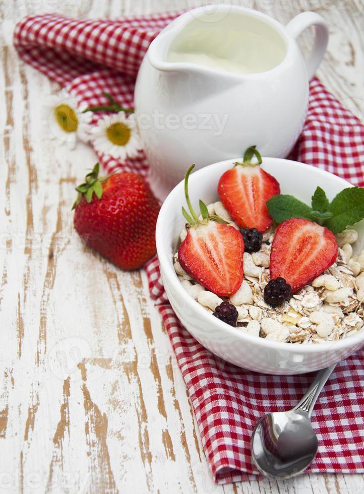 grain muesli with strawberries photo