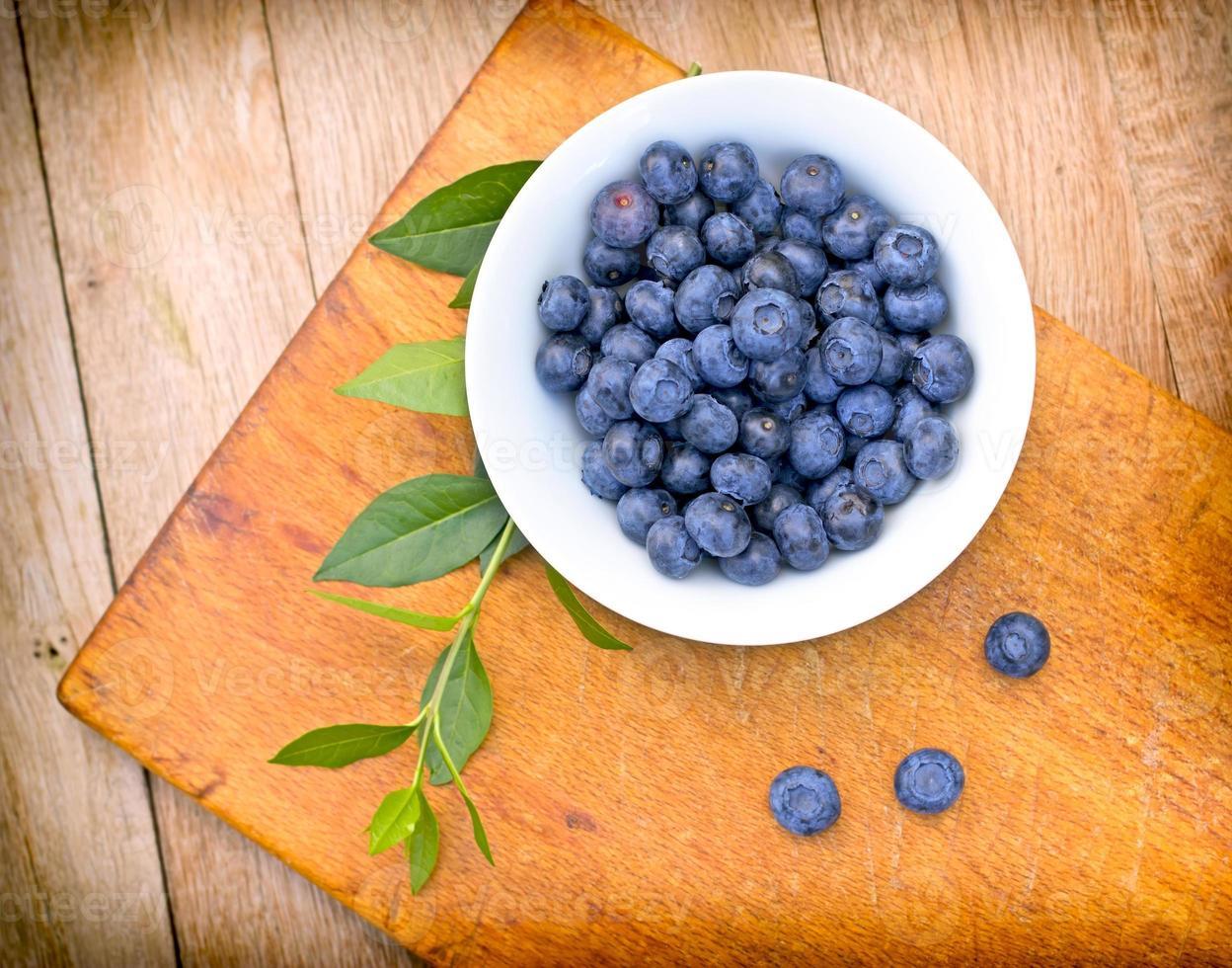 Organic blueberries in bowl photo