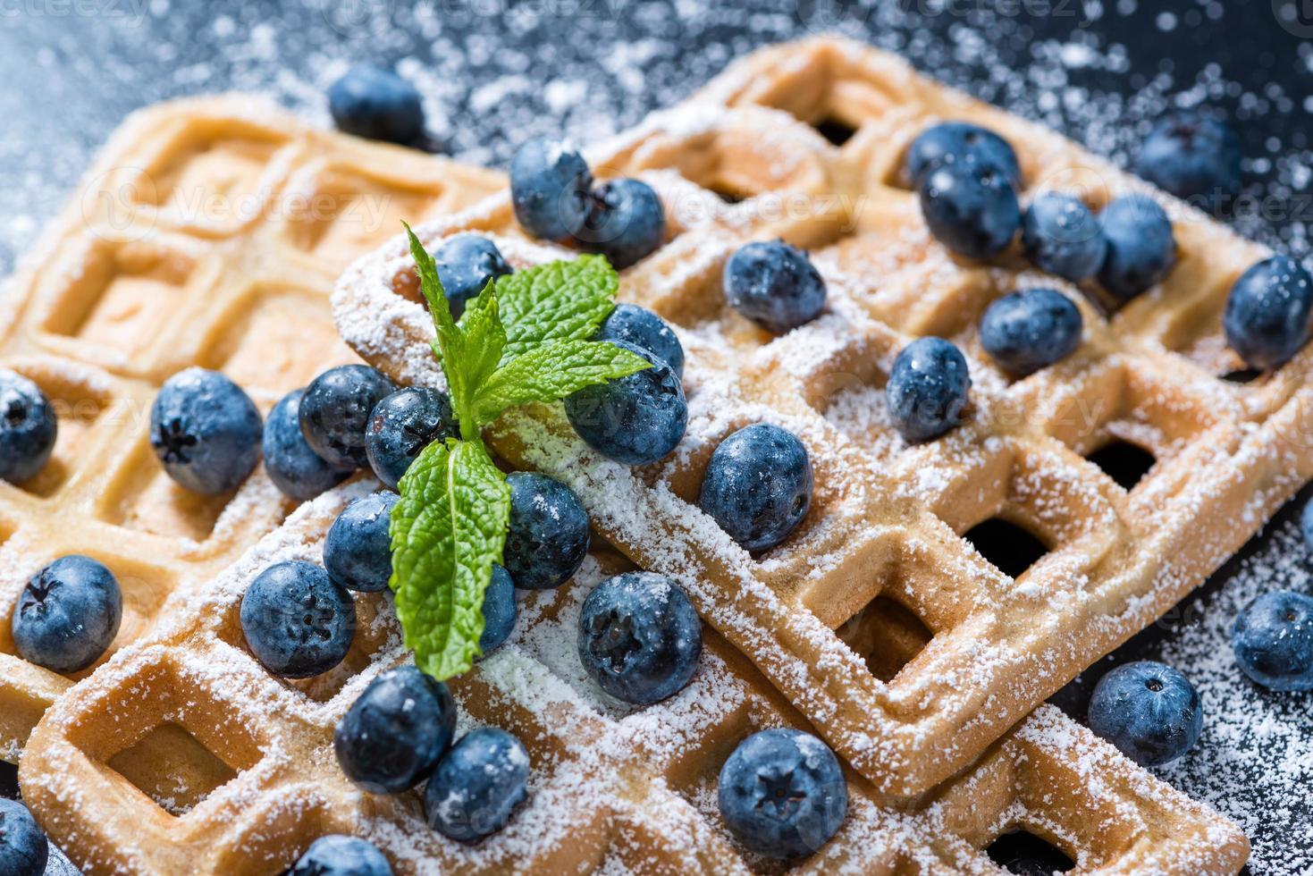 waffles caseros con arándanos foto