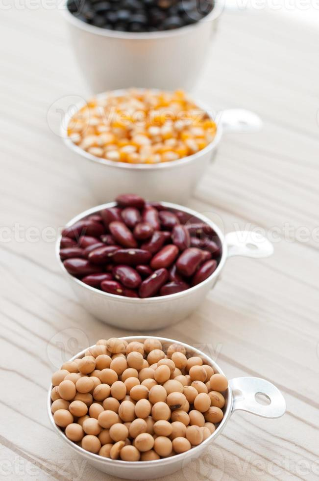 collection set of beans, legumes, peas, lentils on white wooden photo