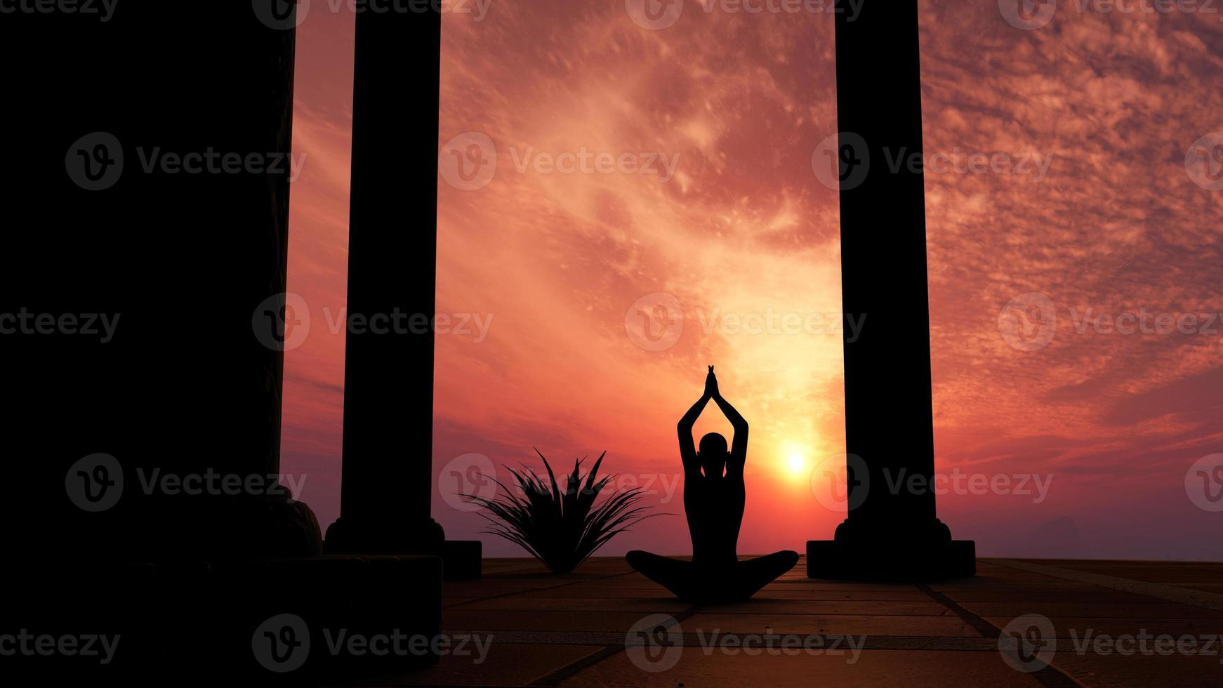 Silhouette practicing yoga photo
