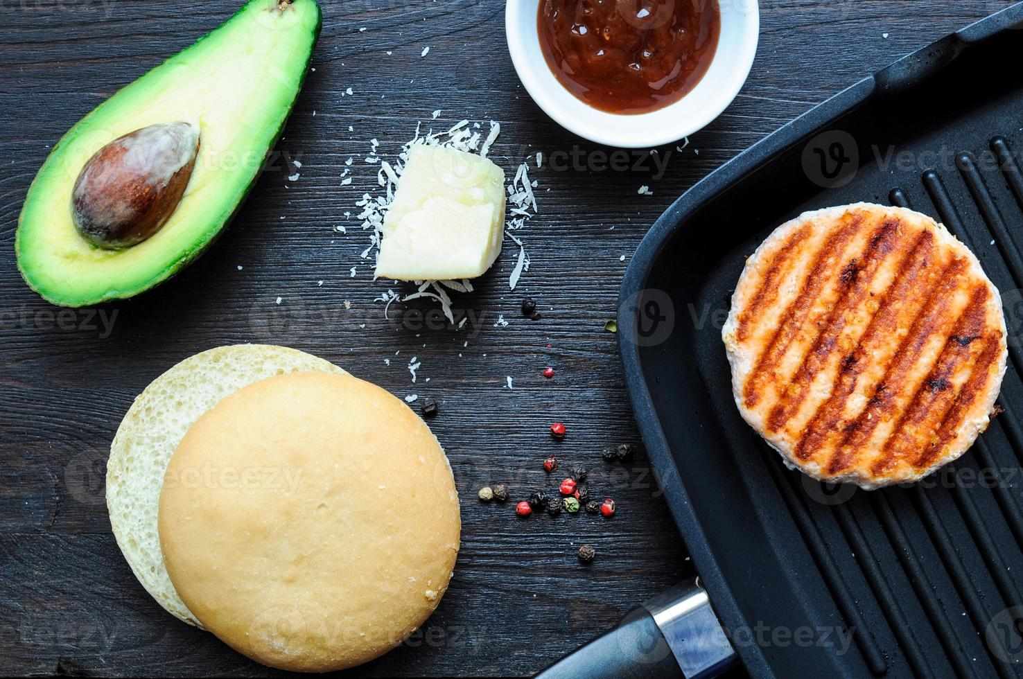 Ingredients for cooking fish burger at home photo