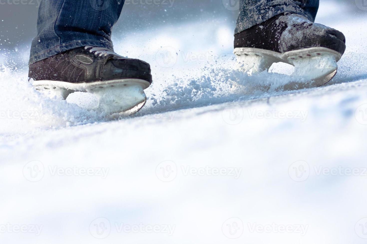 het breken van schaatsen, veel kopie ruimte foto