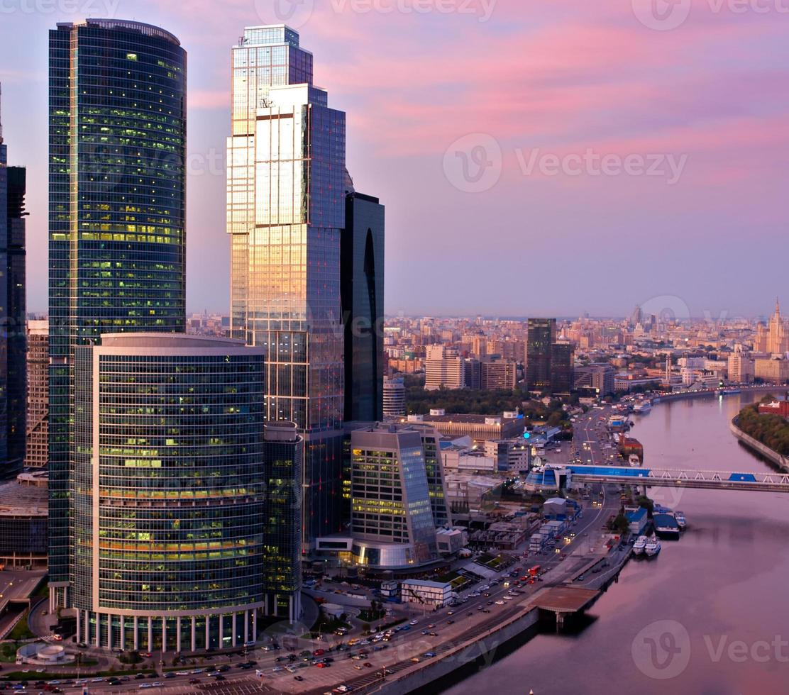 Landscape of skyscrapers in Moscow, Russia photo