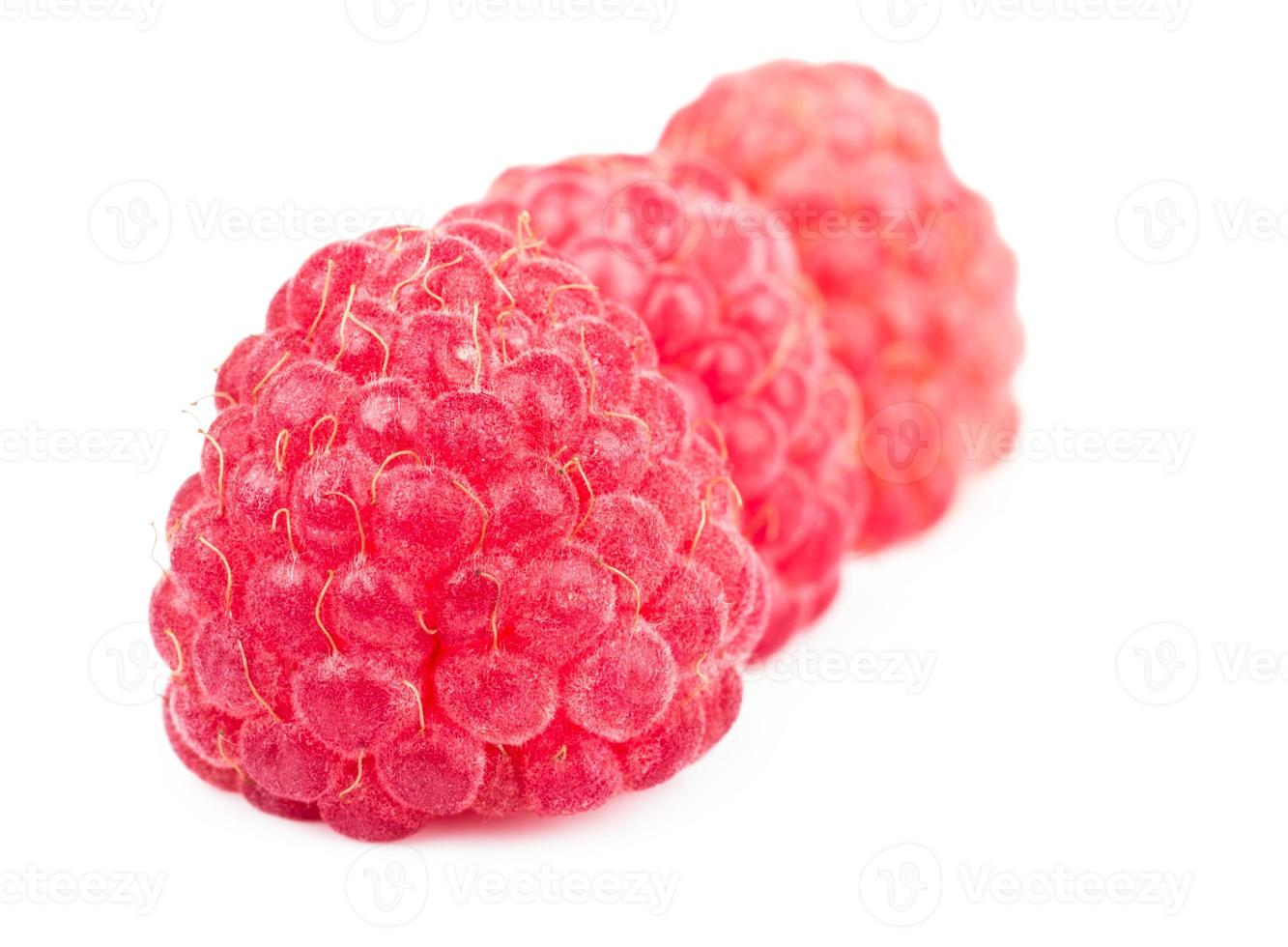 Row of red ripe raspberries isolated on white photo
