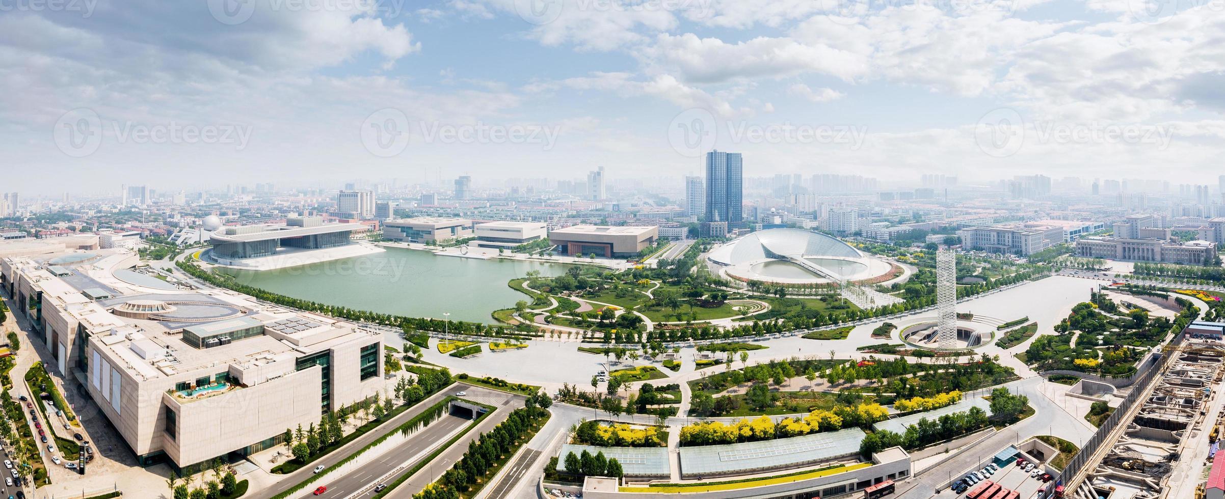 Horizonte panorámico y edificios modernos de Tianjin foto