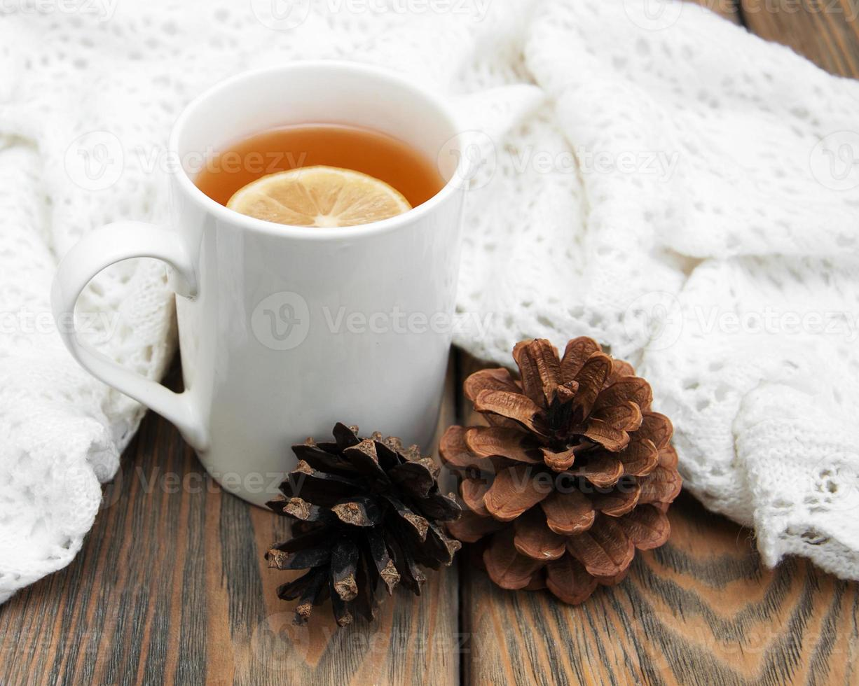 taza de té de invierno foto