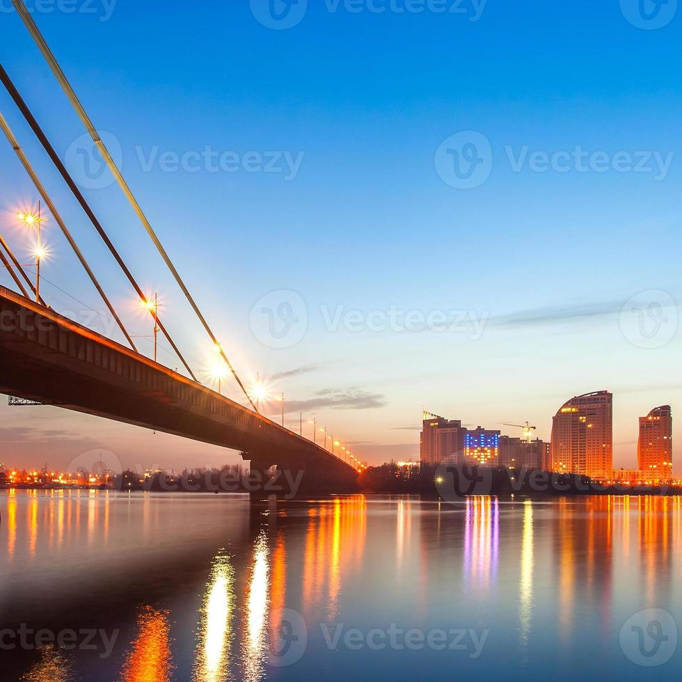 Moscow bridge in Kiev at night photo